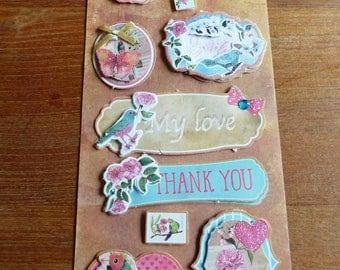 10 stickers 3D bird love thank you flower glitter satin ribbon pearls