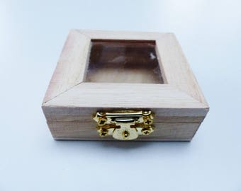 small blank wooden box clear top 7 cm square