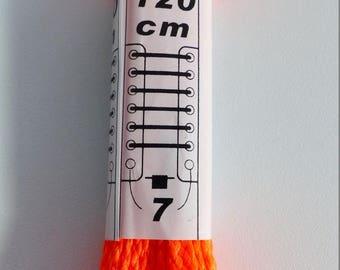 pair of flat color 120 cm orange shoe laces or 7 holes