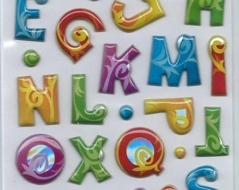Stickers 3d embossed brand Sticko alphabet letters abc for scrapbooking