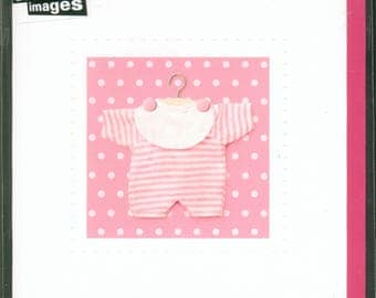 GREETING square card * baby girl birth * 12 x 12 cm