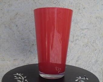 22 cm red glass vase