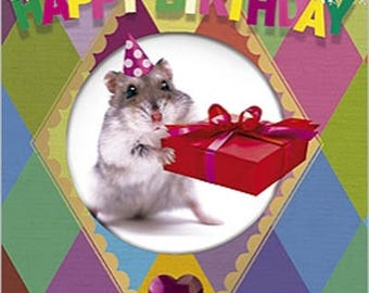 MAP of greeting happy birthday HAMSTER gift 10 x 7 cm