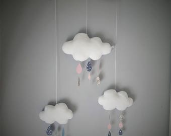 Mobile decorative clouds and raindrops shades of pink and gray