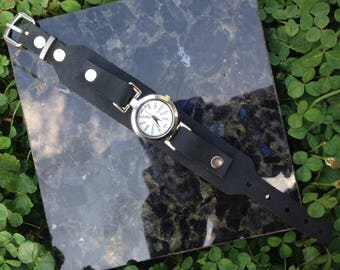 Black Leather Cuff Wrist Watch