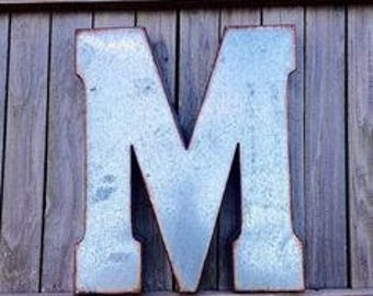 ON SALE Large Metal Letters/ Galvanized Letter/ Industrial/ Wedding Decor/Mantle/ Initial/ Wall Letter/ Letters/Nursery