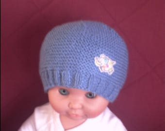 Moss, sky blue handmade knitted baby Hat