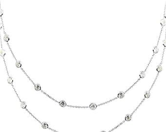 14K White Gold Handmade Station Necklace With 4 MM Cubic Zirconia By The Yard (28, 30, 32 and 36 Inches)