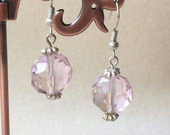 Pink faceted glass bead dangle drop earrings Handmade