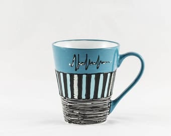 Mug / Cup 30 cl porcelain handpainted colors Blue, black and white