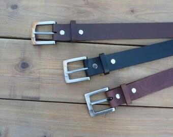 Belt brown leather or brown aged or black, 40 mm wide