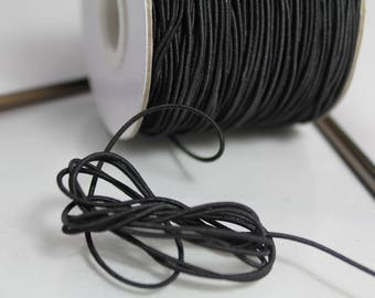 ☆ 2 metres of round elastic cord / black / 1 mm diametre☆