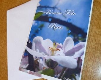 """Carte double """"Message de fleur"""" Bonne fête Papa"""