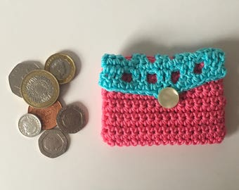 Coin purse small crochet coin purse in pink and blue makes cute present
