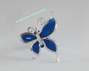 ELECTRIC BLUE BUTTERFLY ADJUSTABLE RING