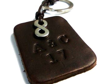 Infinity personalized leather key holder stainless steel personalized N5402