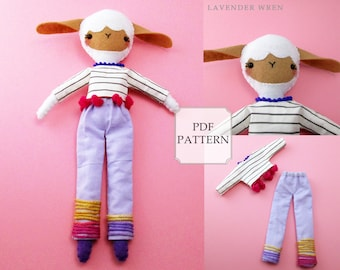 Lamb PDF Sewing Pattern, Lamb Gifts, Lamb Dolly, Lamb Pattern PDF, Lamb Plush Toy, Lamb Doll, Felt Toy Pattern, Digital Download, Lamb PDF