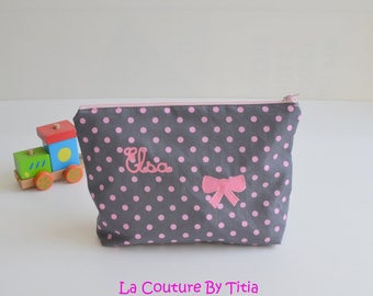 Toilet bag hand-knitted star grey and polka dot pink bow with name @lacouturebytitia