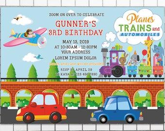 Transportation Birthday Invitation, Trains Planes Automobiles Party, Car train plane Invite, Transportation Birthday Party, Vehicle theme
