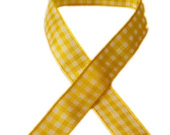 5 m gingham - yellow and white - 12mm wide ribbon