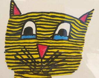 THE original mistigrou! framed original drawing! drawing by kids for kids!