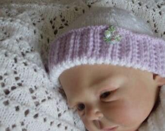 Knit baby hat, handknitted, purple white @100 dreams-sweetness