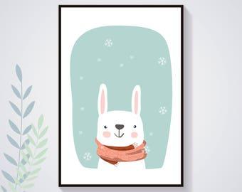 Affiche Poster Lapin Blanc Hiver Neige Flocon Pastel Nature Illustration Déco Chambre Enfant Bébé Affiche Enfant Affiche Bébé Animal