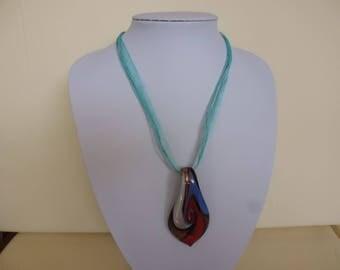 1970's MULTI coloured Glass PENDANT on RIBBON Necklace