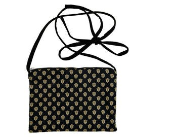 Provence fabric FANNY pouch printed & Black denim canvas