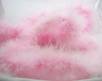Pink marabou with Swan feathers by 10 cm