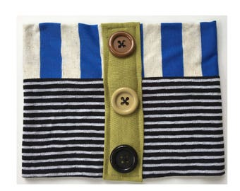 Blue, Black & White Striped Tube Hat w/ Buttons