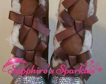 Custom Winter Knee High Boots Sparkly Bling Crystal Customised Chestnut Tall Bailey Bow Ugg Boots