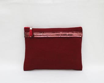 Vanity case Burgundy cotton with Burgundy sequins