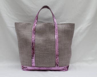 The bag in 100% linen violet lilac purple with sequins