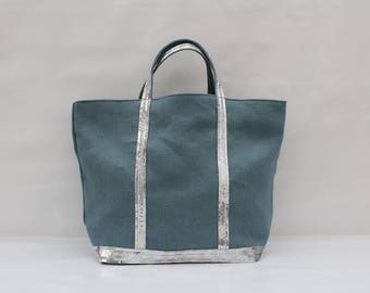 The bag in 100% linen turquoise Green