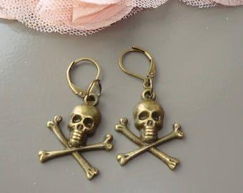 earring bronze skull, destash