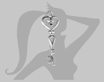 Charm - Key large 42 mm silver plated pendant