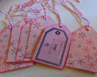 gift tags, Christmas, snowflakes, pink