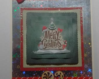 """""""Merry Christmas red and holographic card"""
