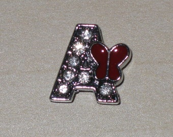 Letter A beads sliding Rhinestones, silver metal Butterfly