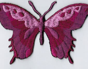 Purple Butterfly embroidered iron or sew patch. Applique Patch 7.5 x 5.5 cm