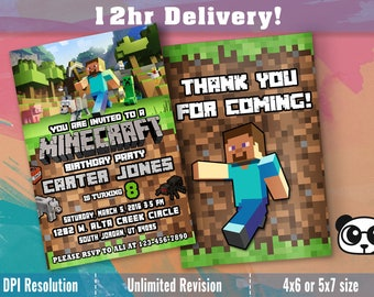 MINECRAFT BIRTHDAY INVITATION,Minecraft Invitations,Minecraft birthday party invites,Minecraft party supplies,printables,personalized invite