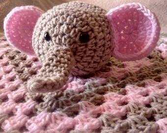 Crochet elephant lovey Light Gray and Light Pink elephant lovey Babyshower baby girl