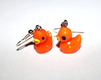 LITTLE duck earrings orange