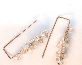 Earrings Aquamarine, Crystal Earrings, Earrings squarish with Aquamarine Chips