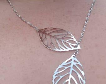 Double Leaf Pendant Necklace