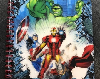 Drawing or note book has illustrated spiral blanket for kids - Iron Man Captain America Hulk and Thor
