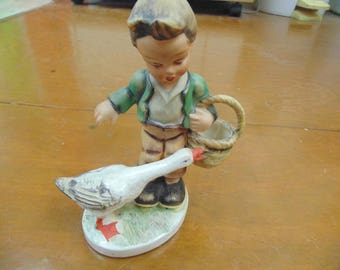 Friedel Boy with Goose figurine