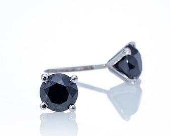 Black Diamond Earrings, Made of 14K - 18K gold and black diamond