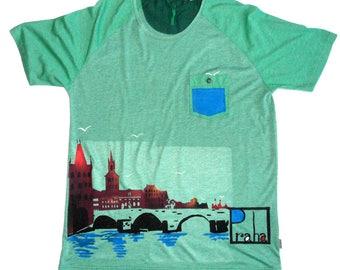 Ted baker man with Pocket displaying the Charles Bridge Prague T-shirt